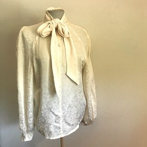 LAST CHANCE Vintage cream blouse with neck bow tie